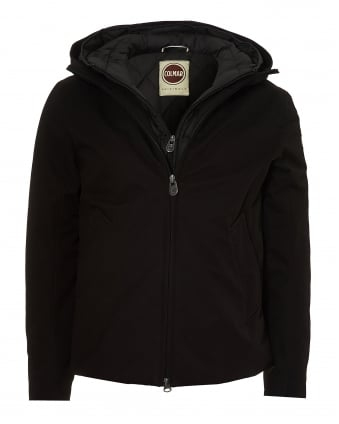 Mens Fixed Hood Technical Outer Black Jacket