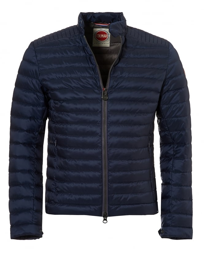 Colmar Mens Light Weight Biker Jacket, Down Filled Navy Jacket