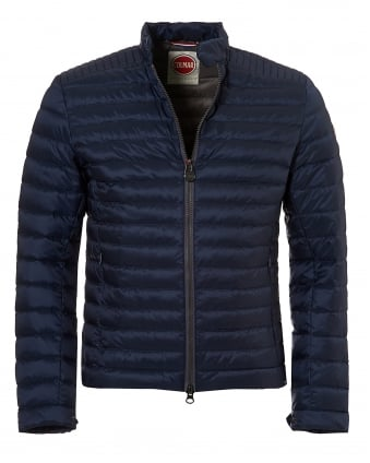 Mens Light Weight Biker Jacket, Down Filled Navy Jacket