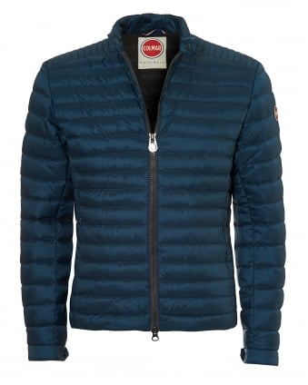 Mens Light Weight Biker Jacket, Down Filled Venus Blue Jacket