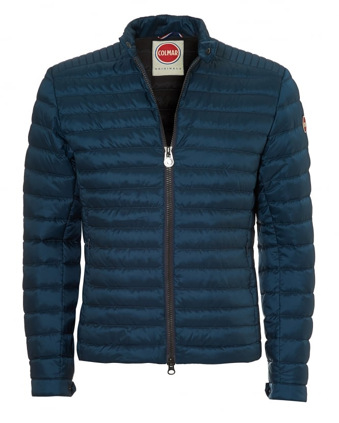 Colmar Mens Lightweight Biker Jacket, Down Filled Venus Blue Jacket