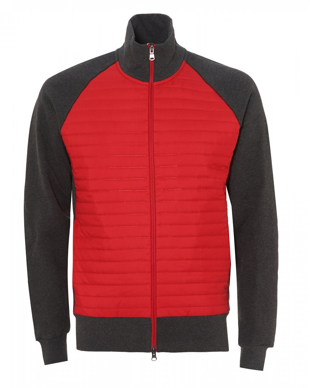 3dfc3c65c Mens Padded Sporty Sweatshirt, Red Grey Cotton Sweat