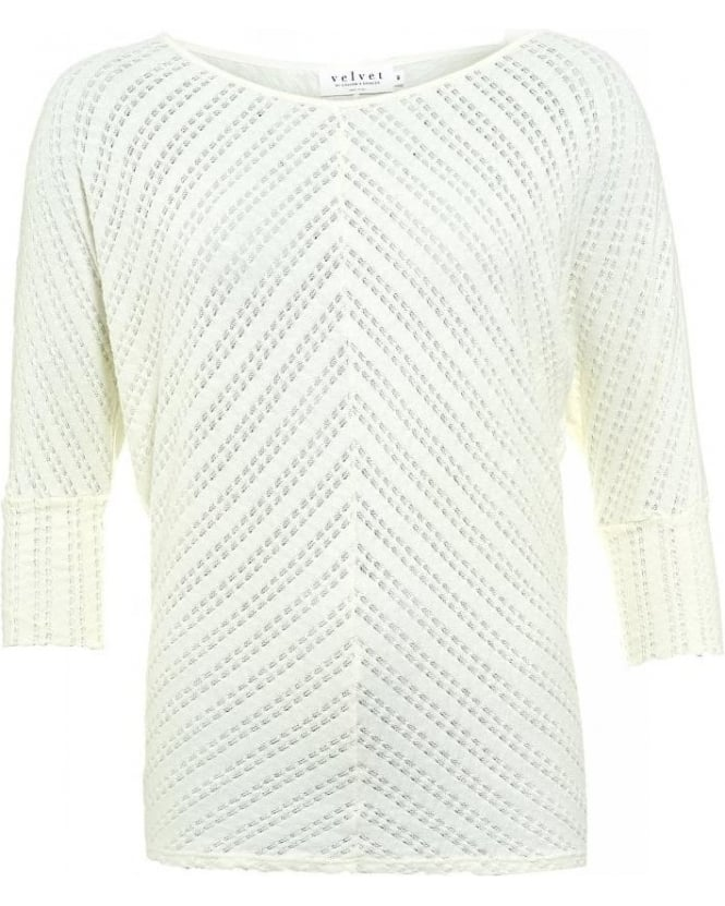 Velvet by Graham & Spencer Cream 3/4 Sleeve Batwing Oona 02 Top