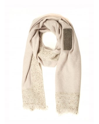 Womens Beige Sequin Scarf