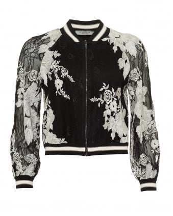 Womens Bomber Jacket, Lace Floral Reversible Black Ecru Jacket