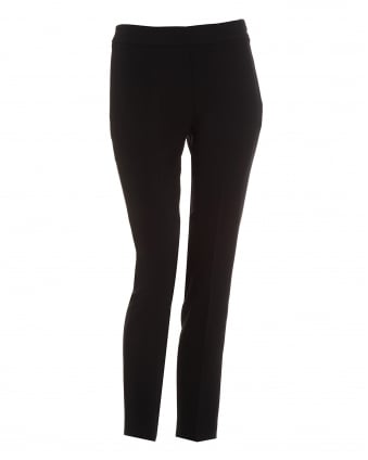 Womens Cigarette Crepe Black Trousers