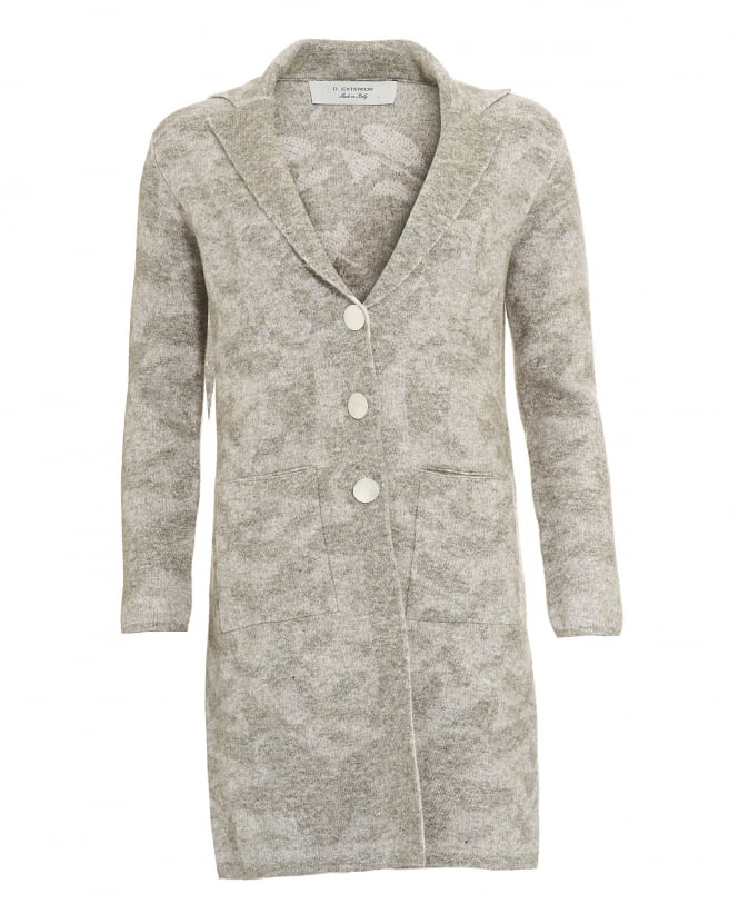 D. EXTERIOR Womens Coat, Floral Print Grey Knitted Jersey Jacket