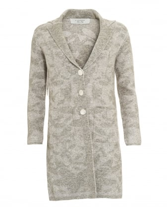 Womens Coat, Floral Print Grey Knitted Jersey Jacket