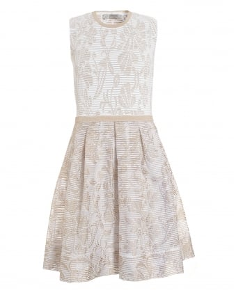 Womens Dress, Beige White Floral Knitted Skater Dress