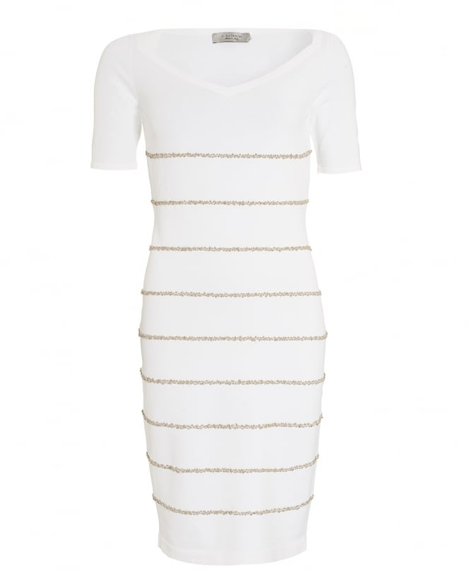 D. EXTERIOR Womens Dress, Knitted Stripe Short Sleeve Dress