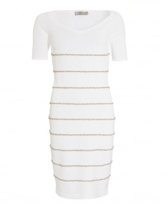 Womens Dress, Knitted Stripe Short Sleeve Dress