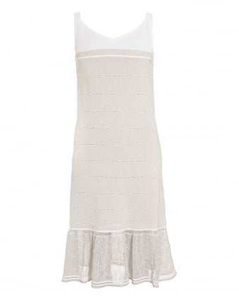 Womens Dress, White Beige Sleeveless Frill Hem Dress