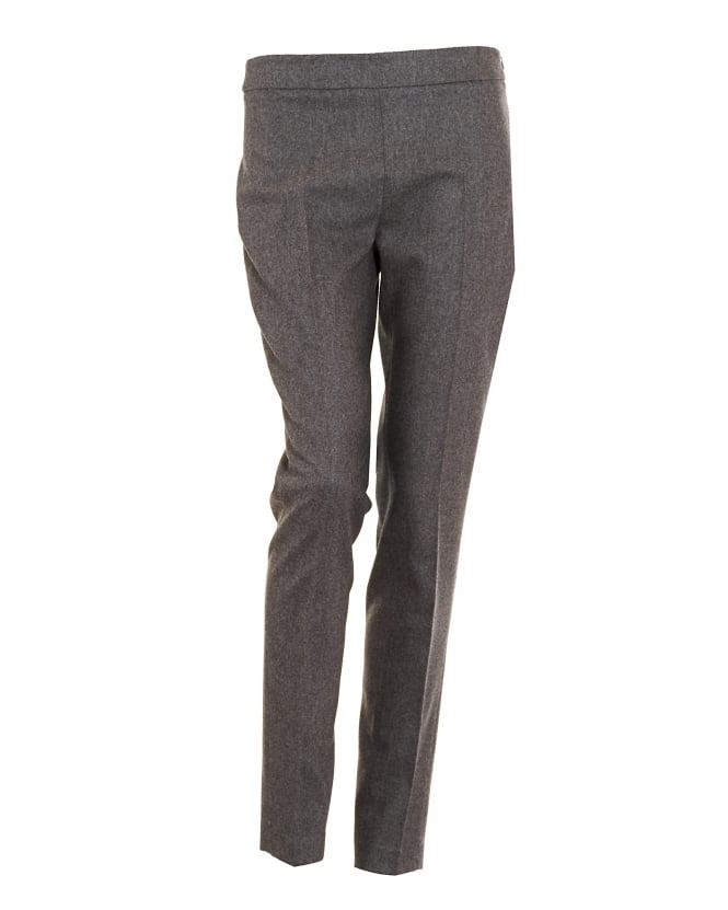 D. EXTERIOR Womens Flannel Mid Rise Cigarette Grey Trousers