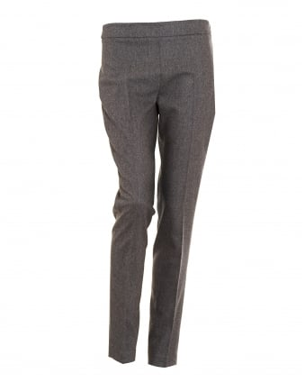 Womens Flannel Mid Rise Cigarette Grey Trousers
