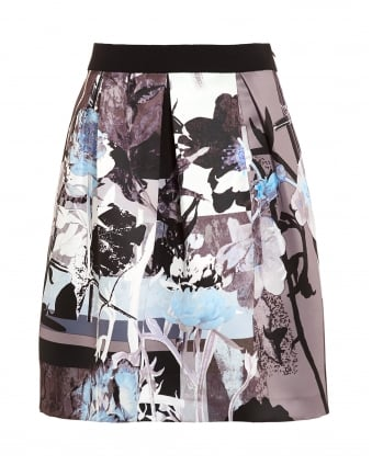 Womens Flower Printed Taupe Blue Skirt