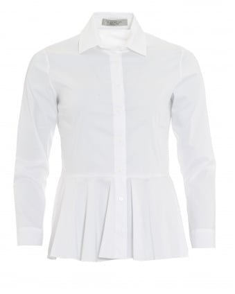 Womens Front Peplum White Shirt