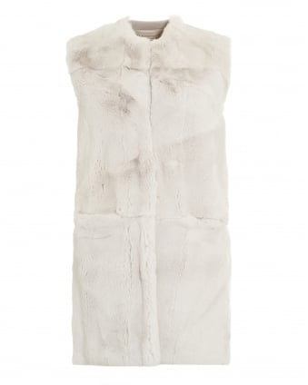 Womens Gilet, Sleeveless Cream Fur Panel Cashmere Waistcoat