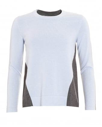 Womens Jumper, Contrast Cashmere Blend Blue Grey Sweater