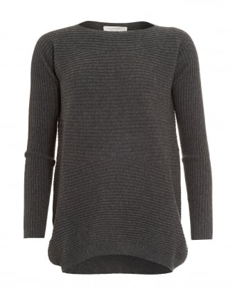 Womens Jumper, Grey Ribbed Knit Sweater
