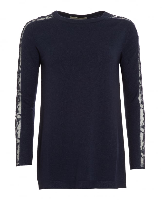 D. EXTERIOR Womens Jumper, Scoop Neck Lace Sleeves Navy Blue Sweater