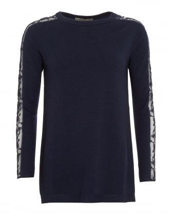 Womens Jumper, Scoop Neck Lace Sleeves Navy Blue Sweater