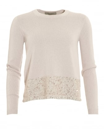 Womens Jumper, Sequin Frayed Hem Beige Sweater