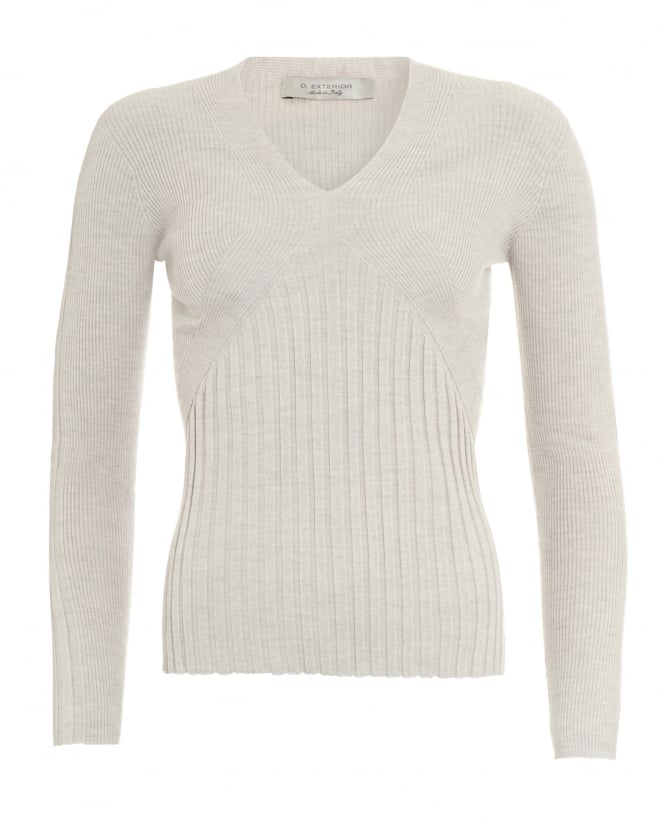 D. EXTERIOR Womens Jumper, V-Neck Beige Ribbed Sweater