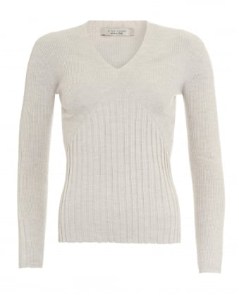 Womens Jumper, V-Neck Beige Ribbed Sweater