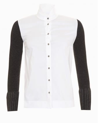 Womens Pinstripe Cuff White Grey Shirt