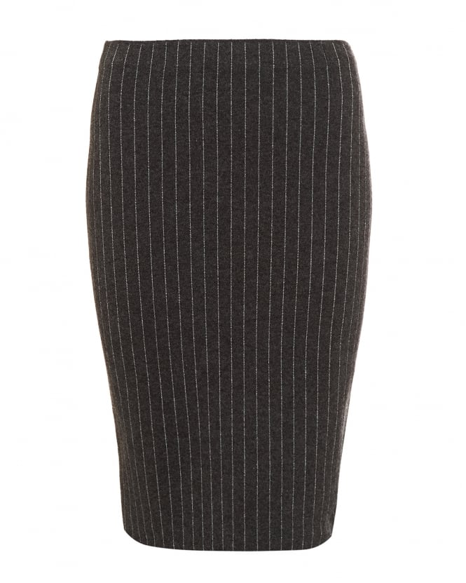D. EXTERIOR Womens Pinstripe Knitted Charcoal Grey Pencil Skirt