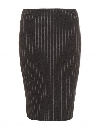 Womens Pinstripe Knitted Charcoal Grey Pencil Skirt