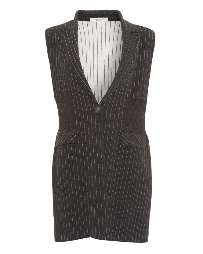 D. EXTERIOR Womens Pinstripe Knitted Charcoal Grey Waistcoat