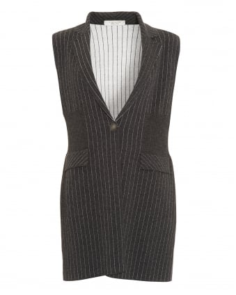 Womens Pinstripe Knitted Charcoal Grey Waistcoat