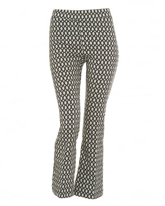 Womens Printed Cropped Black Beige Trousers