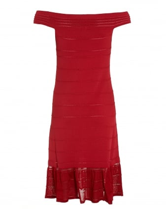 Womens Red Frill Hem Bardot Off-Shoulder Dress