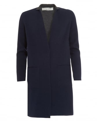 Womens Reversible Coat, Navy Blue Knitted Jacket
