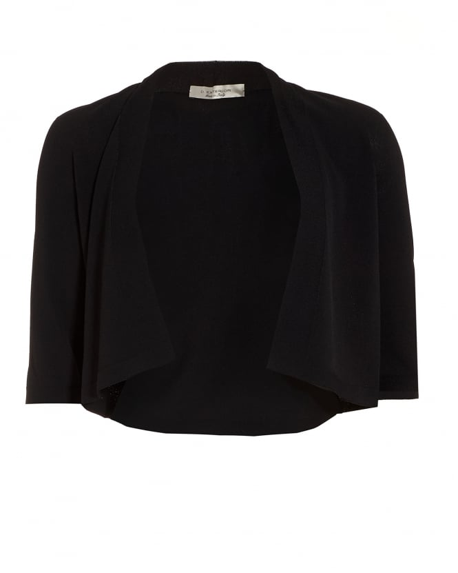 d. exterior womens three quarter sleeve black cropped cardigan