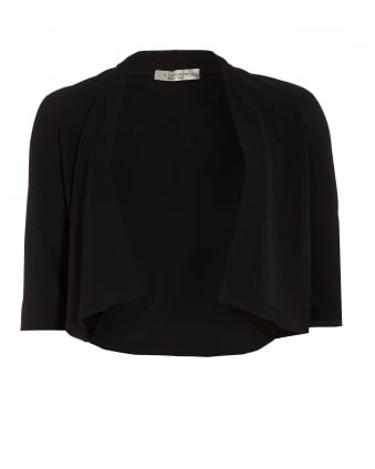Womens Three Quarter Sleeve Black Cropped Cardigan