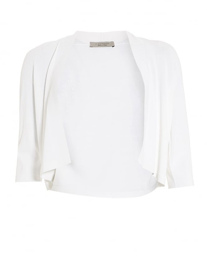 D. EXTERIOR Womens Three Quarter Sleeve White Cropped Cardigan