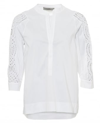 Womens White Collarless Shirt, Cutout Lace Dipped Hem Top