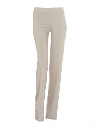 Womens Wide Leg Crepe Beige Trousers