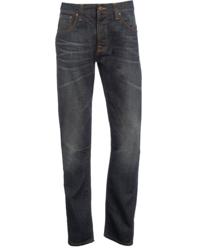 Nudie Jeans Dark Cross, Steady Eddie Tapered, Distressed Jean
