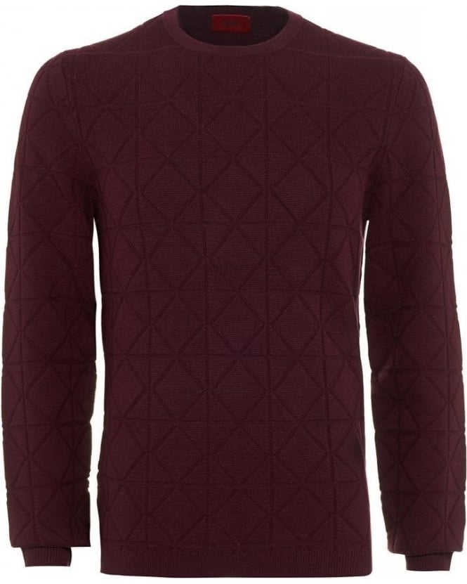 Hugo Boss - Hugo Dark Red Diamond Cotton Blend Sonur Sweater