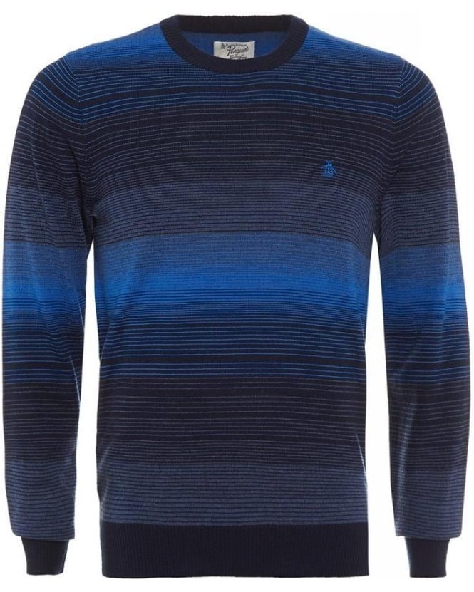 Original Penguin Dark Sapphire Graduated Stripe Merino Jumper