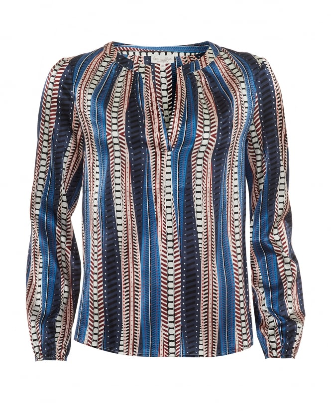 Dea Kudibal Womens Amalie Tunic, Vertical Striped Pattern Blue Multi Top