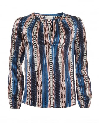 Womens Amalie Tunic, Vertical Striped Pattern Blue Multi Top
