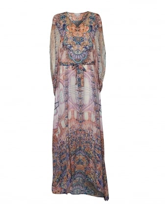 Womens Bo Long Kaftan Sephora Print Pink Blue Maxi Dress