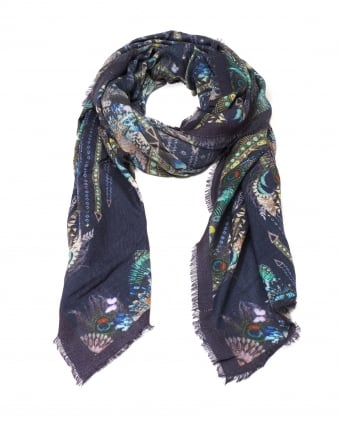 Womens Chloe Peacock Print Cashmere Scarf