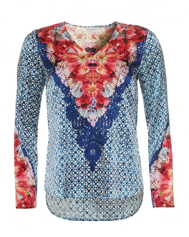 Dea Kudibal Womens Dolce Tunic, Vega Flower & Geo Tile Print Blue/Red Top