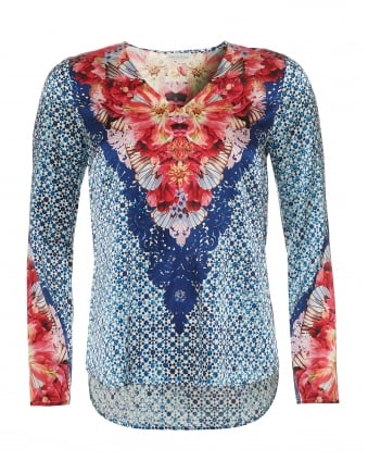Womens Dolce Tunic, Vega Flower & Geo Tile Print Blue/Red Top